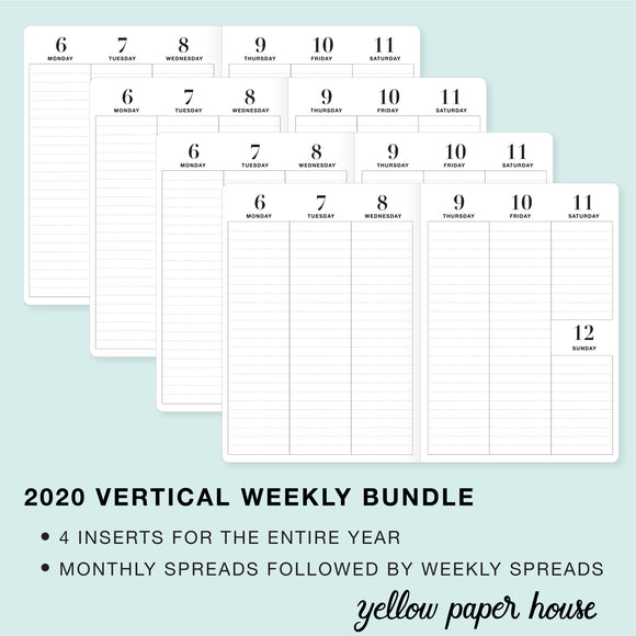 TRAVELERS NOTEBOOK INSERT - 2020 BUNDLE of FOUR QUARTERS - VERTICAL DATED CALENDAR