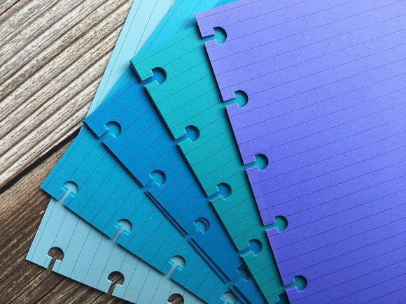 DISC PUNCHED PLANNER PAPER - FITS HAPPY PLANNER or LEVENGER CIRCA - FEELIN' BLUE