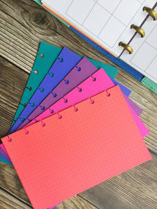 DISC PUNCHED PLANNER PAPER - FITS HAPPY PLANNER or LEVENGER CIRCA - JEWEL TONES