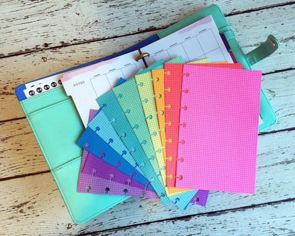 DISC PUNCHED PLANNER PAPER - FITS HAPPY PLANNER or LEVENGER CIRCA - SPRING RAINBOW