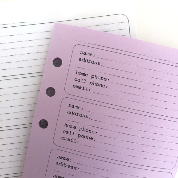 FILOFAX STYLE PLANNER INSERT - 6 RING - ADDRESS BOOK