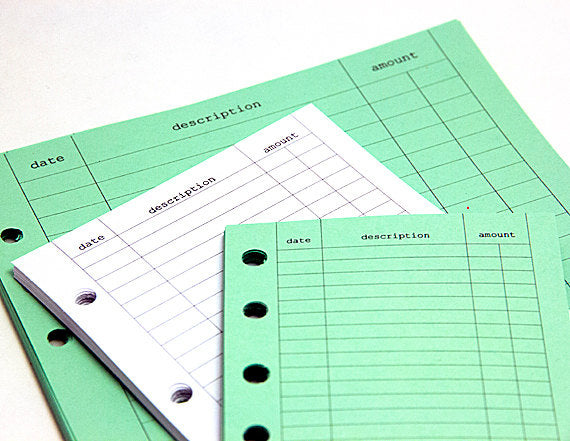 FILOFAX STYLE PLANNER INSERT - 6 RING - EXPENSE TRACKER