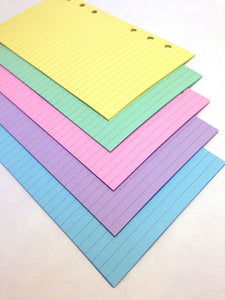 FILOFAX STYLE PLANNER PAPER - 6 RING - PASTEL