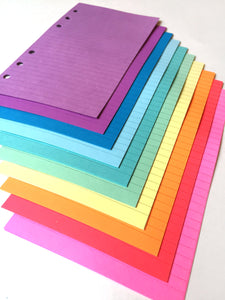FILOFAX STYLE PLANNER PAPER - 6 RING - SPRING RAINBOW