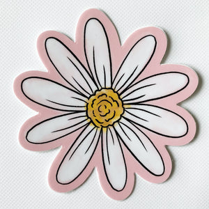 "Pink Daisy Sticker  3"" x 3"""
