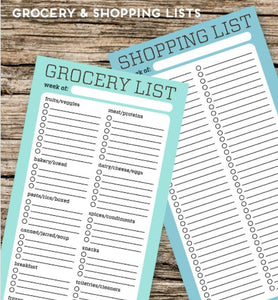 PRINTABLE DOWNLOAD - GROCERY & SHOPPING LISTS