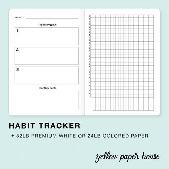 FILOFAX STYLE PLANNER INSERT - 6 RING A5 SIZE - HABIT TRACKER