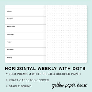 TRAVELERS NOTEBOOK INSERT - HORIZONTAL WEEKLY CALENDAR WITH DOTS