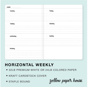 TRAVELERS NOTEBOOK INSERT - HORIZONTAL WEEKLY CALENDAR