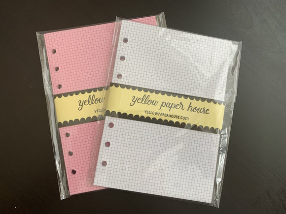 CLEARANCE - 1st Quality - 2x Personal Wide size Filofax Insert - Pink/White  - Tiny Grid (F1)