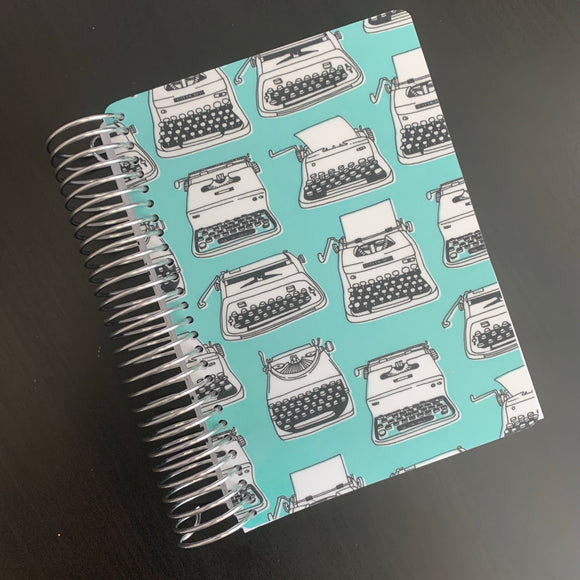 CLEARANCE - 2nd Quality - Spiral Mini 2020-2021 Dated Vertical Weekly Planner - Turquoise Typewriters