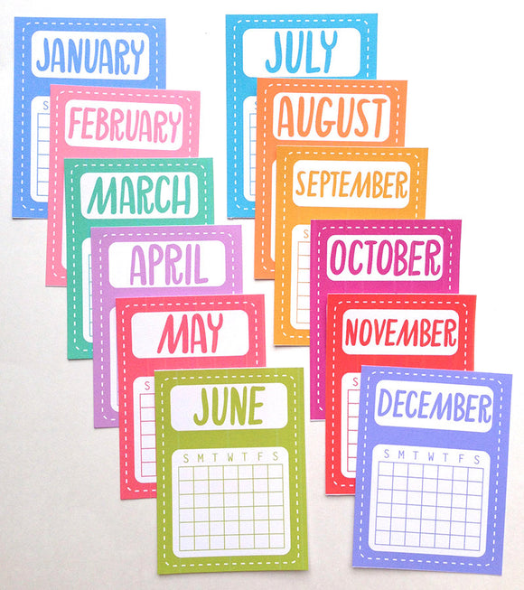 PRINTABLE DOWNLOAD - MONTHLY CALENDAR CARDS