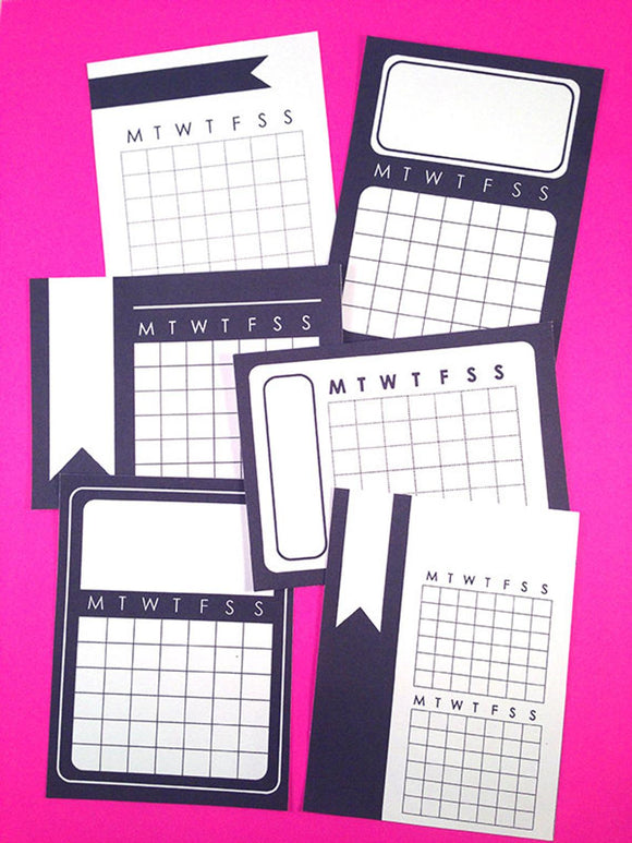 PRINTABLE DOWNLOAD - MONTH CALENDAR CARDS - BLACK & WHITE