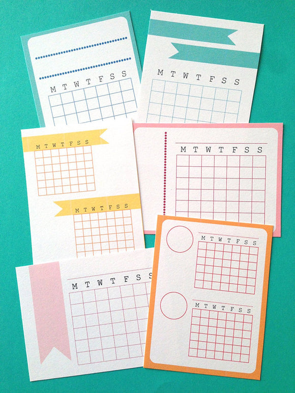 PRINTABLE DOWNLOAD - MONTH CALENDAR CARDS - COLOR