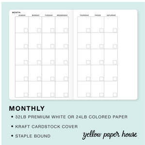 TRAVELERS NOTEBOOK INSERT - MONTHLY CALENDAR - UNDATED - MONDAY START