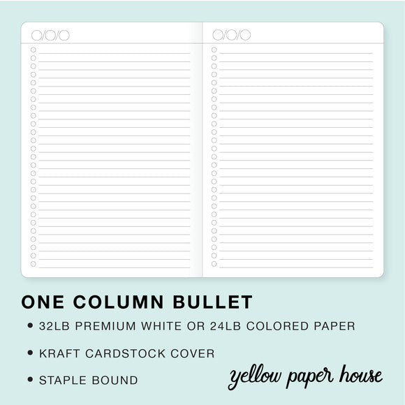 TRAVELERS NOTEBOOK INSERT - ONE COLUMN BULLET