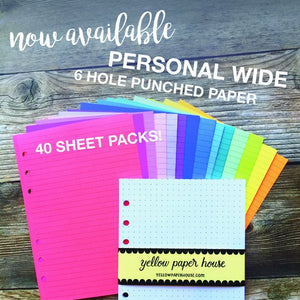 FILOFAX STYLE PLANNER PAPER - 6 RING PERSONAL WIDE SIZE - PATTERNS