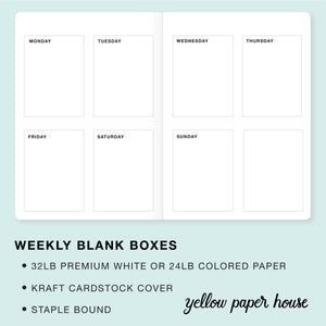 TRAVELERS NOTEBOOK INSERT - WEEKLY BLANK BOXES CALENDAR - UNDATED