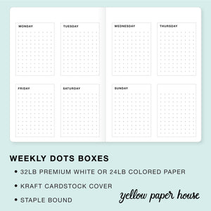 TRAVELERS NOTEBOOK INSERT - WEEKLY DOTS BOXES CALENDAR - UNDATED