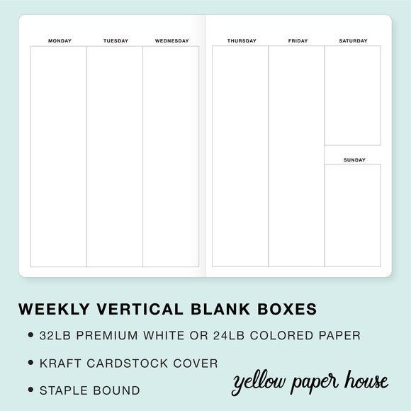 TRAVELERS NOTEBOOK INSERT - WEEKLY VERTICAL BLANK BOXES CALANDAR - UNDATED