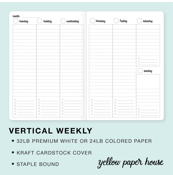 TRAVELERS NOTEBOOK INSERT - VERTICAL WEEKLY CALENDAR - UNDATED