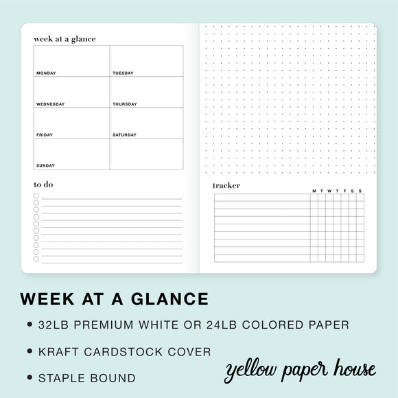 TRAVELERS NOTEBOOK INSERT - WEEK AT A GLANCE