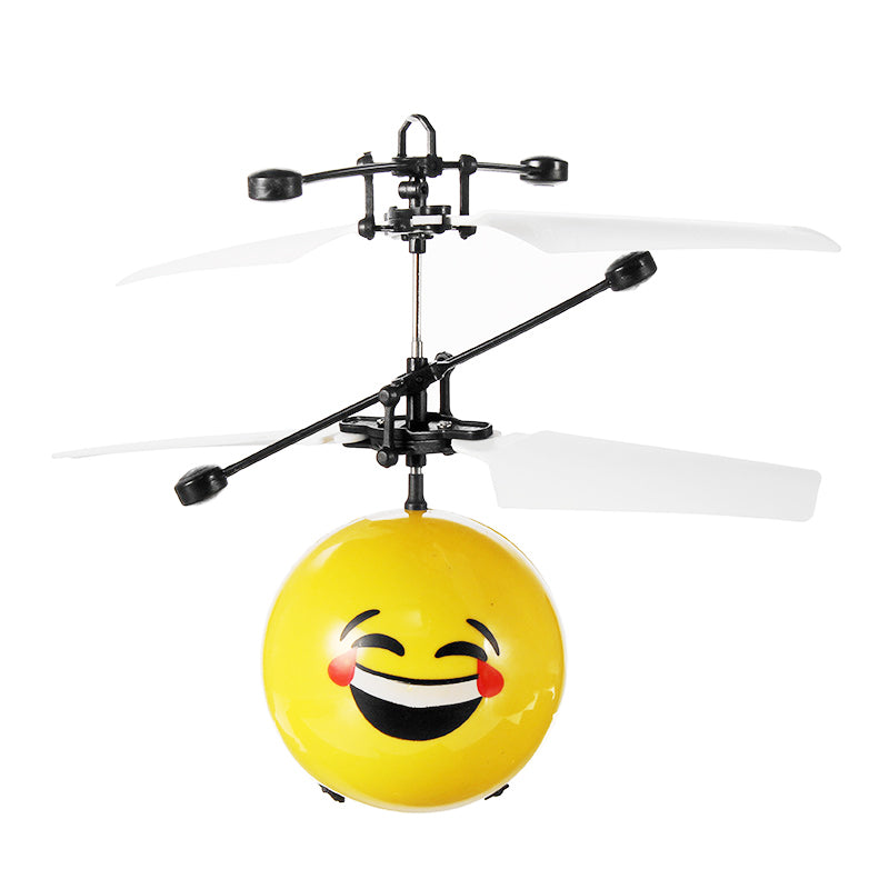 Hand Induction Aircraft Flying Facial Expression Helicopter Toy for Kids