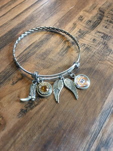 Route 91 Braided Bangle with bullet charm