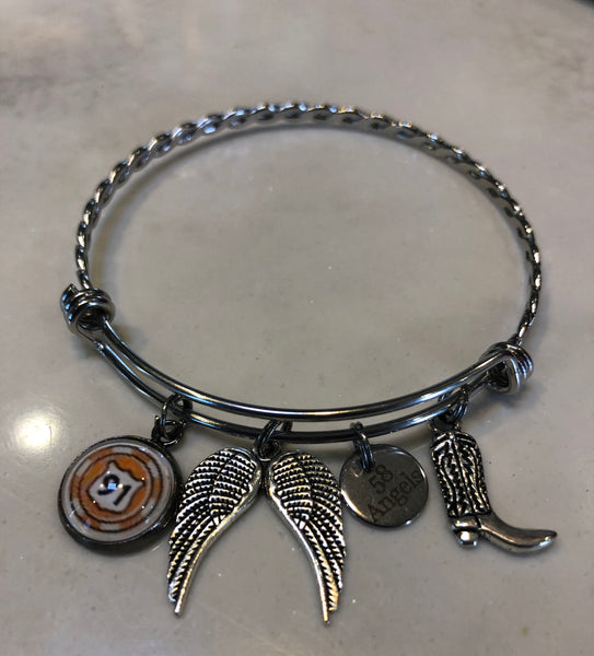 Route 91 Braided Bangle with 58 Angels Charm