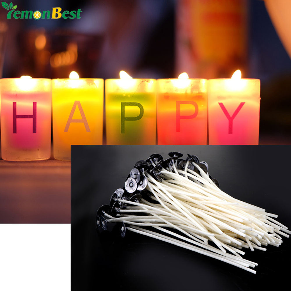 Natural Candle Wicks 100 Pcs 12cm DIY Low Smoke Pre-Waxed & Natural Cotton  Core With Sustainers For Candle Making DIY Candle