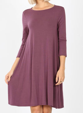 3/4 Sleeve Dress With Pockets