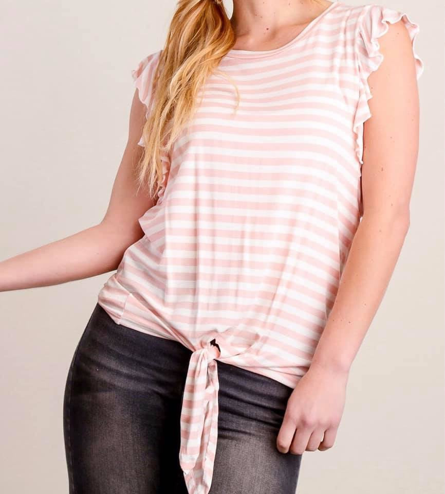 Pink Striped Shirt with Ruffle Sleeves