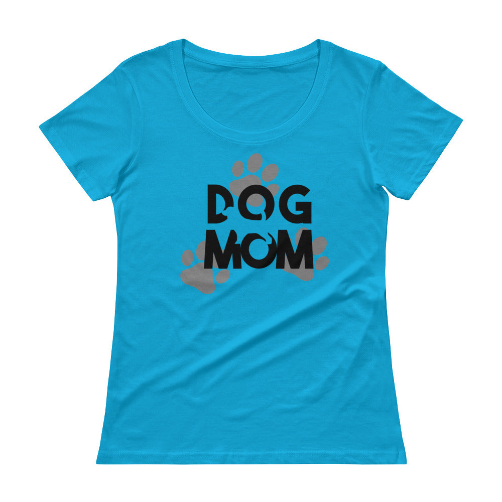 Ladies' Dog Mom Scoopneck T-ShirtCaribbean Blue / XS - K9 & Company
