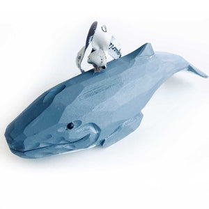 Hand Carved Painted Blue Whale