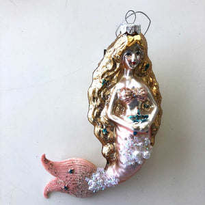 Pink and Gold Mermaid Ornament