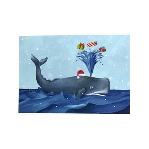 Santa Hat Whale with Gifts