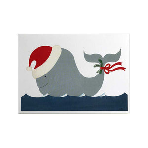 Whale with Santa Hat and Mistletoe