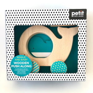 Wooden Push Along Whale and Baby