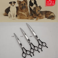 7.0 7.5 8.0 inch Dog Grooming Black Curved Scissors
