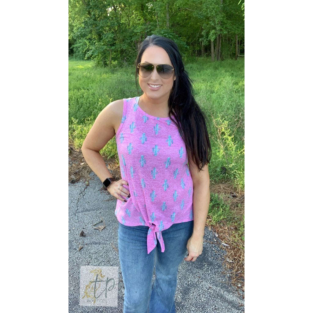 Pink Cactus Sleeveless Knot Top
