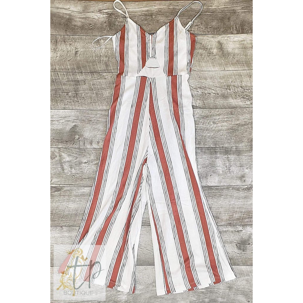 Rust and cream striped jumpsuit