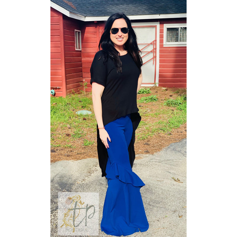 Royal Blue Ruffle Bell Bottoms