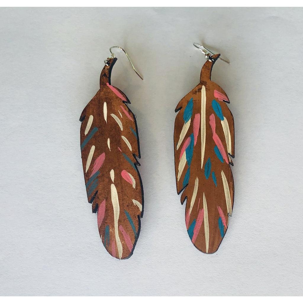 Leather Painted Feather Earrings - The Twisted Palomino Boutique
