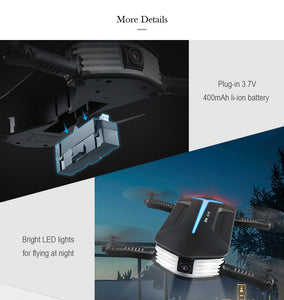 JJRC H37 MINI BABY ELFIE Small Camera Drone - Features: WiFi App control and 2.4GHz 4CH G-sensor Controller, 720P HD Recording, LED Tracking Lights, Headless Mode,