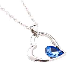 Crystal Pendant Necklace -  Blue