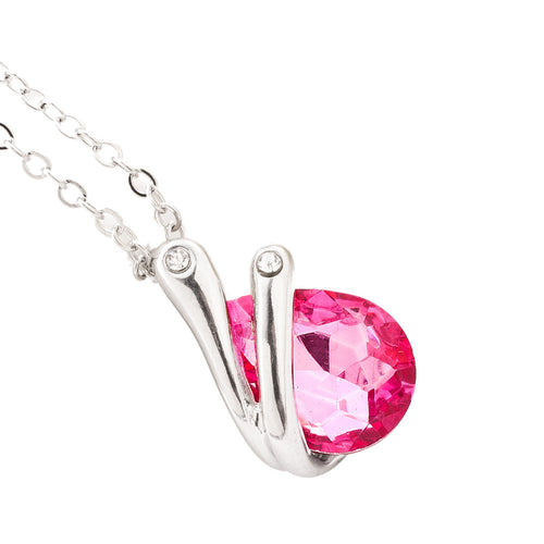Crystal Pendant Necklace -  Pink