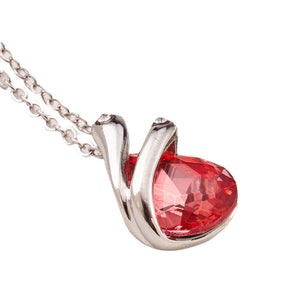Crystal Pendant Necklace - Red