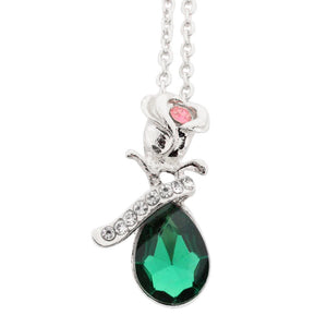 Women Jewelry Crystal Rose- Silver/Green