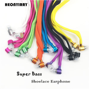 Shoelace Earphones Super Bass Headphones Stereo Music Headset Sports Running Earbuds Earphone With Mic for Iphone/Xiaomi/Samsung