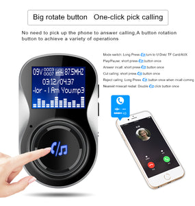 Bluetooth Hands free FM Transmitter with  Dual USB Car Quick Charge Charger